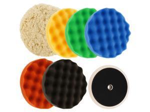 """Waffle Foam & Wool Buffing & Polishing Pad Kit w/ 6 - 8"""" Pads Grip Backing Plate"""