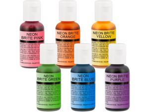 US Cake Supply by Chefmaster Airbrush Cake Neon Color Set in 0.7 fl. oz. Bottles