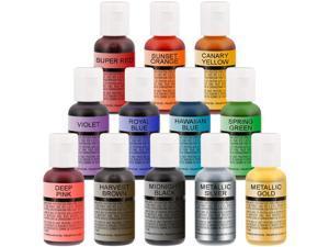 Chefmaster Airbrush Food Coloring Set - 12 Popular Colors in .7 fl. oz. Bottles