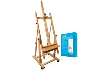 US Art Supply MALIBU H-Frame Deluxe Adjustable Wood Studio Easel w/ Tilt Paint
