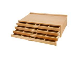 US Art Supply® Artist Wood Pastel, Pen, Marker Storage Box with 4-Drawers