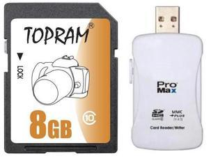 TOPRAM 8GB SD 8GB SDHC Card Class 10 Extreme Speed for Camera & Camcorder with R16 Card Reader