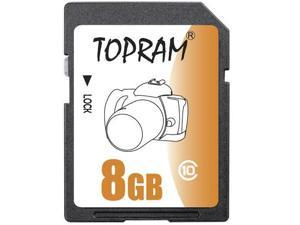 TOPRAM 8GB SD 8G SDHC Card Class 10 C10 Extreme Speed for Camera & Camcorder bulk pack