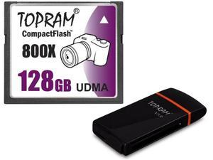 TOPRAM 128GB CF 128G CompactFlash Card 800X UDMA7 Extreme Speed Fast UDMA 7 RAW read: 120MB/s write: 60MB/s with USB 3.0 ...