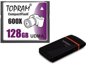 TOPRAM 128GB CF 128G CF CompactFlash Card 600X UDMA7 Extreme Speed Fast UDMA 7 RAW with USB 3.0 Reader