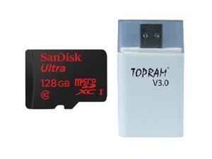 SanDisk 128GB 128G microSDXC Ultra microSD micro SDHC SDXC Class 10 UHS-I C10 Memory Card Retail with USB 3.0 High Speed Card Reader