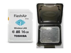 Toshiba FlashAir II 16GB Wireless LAN WIFI SD 16G SDHC Class 10 Memory Card Retail with Multifunction Memory Card Protective Case