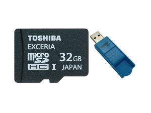 Toshiba UHS-I Exceria 32GB microSDHC 32G microSD micro SD SDHC UHS Flash Card Class 10 R: 95MB/s W: 30MB/s Retail with USB 3.0 MicroSD Card Reader