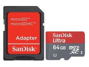 SanDisk 64GB microSDXC 64G microSD microSDHC micro SD SDHC SDXC Card Mobile Ultra Class 10 UHS-I 30Mb/s in OEM bulk package with USB 2.0 R10w Card Reader and a Red Adapter