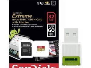 SanDisk 32GB 32G microSDHC Extreme 60MB/s U3 microSD 400X micro SD SDHC Class 10 UHS-I C10 Memory Card SDSDQXN-032G with USB 2.0 Card Reader