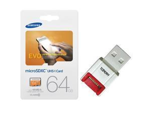 Samsung EVO 64GB microSDXC C10 64G micro SD SDXC UHS-I 48MB/s Class 10 microSD with OEM USB 2.0 Card Reader