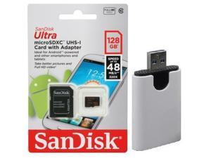 SanDisk 128GB 128G microSDXC Ultra 48MB/s microSD micro SDHC SDXC Class 10 UHS-I C10 Memory Card Retail with USB 3.0 Ultra Speed Card Reader
