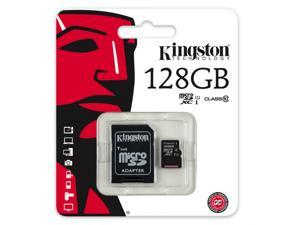 Kingston 128GB 128G microSDXC UHS-I Class 10 microSD micro SD SDXC C10 Flash Memory Card with OEM USB 2.0 OTG Card Reader