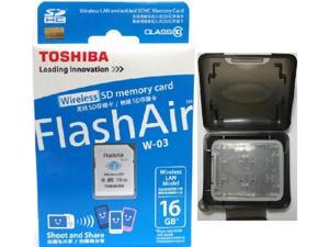 Toshiba FlashAir III 16GB W-03 Wireless LAN WIFI SD 16G SDHC Class 10 Flash Memory C10 Card Retail with OEM Multifunction Memory Card Protective Case