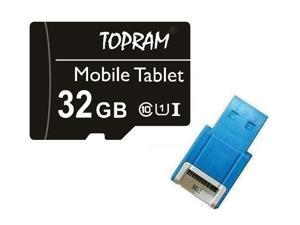 TOPRAM 32GB 32G microSD microSDHC micro SD SDHC Card Class 10 Ultra High Speed UHS-I for Samsung Galaxy S3 S4 S5 Note with OEM USB 2.0 Card Reader