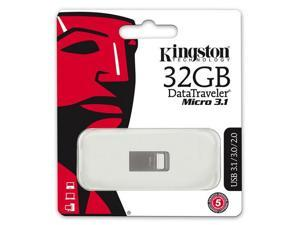Kingston DataTraveler Micro 3.1 32GB USB 3.1/3.0 32G Type-A Metal Flash Pen Drive DTMC3/32GB with USB Lanyard