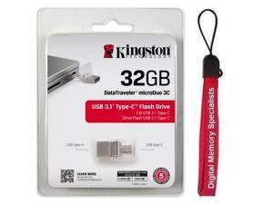 Kingston DataTraveler microDuo 3C 32GB USB 3.1/3.0 32G Type-C OTG Flash Drive DTDUO3C/32GB with USB Lanyard