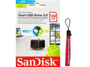 SanDisk 128GB USB 3.0 to microUSB 3.0 OTG Ultra Dual 150MB/s for Android smartphone tablet SDDD2-128G with lanyard