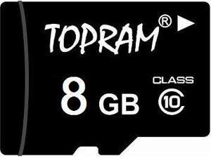 TOPRAM 8GB 8G microSD microSDHC micro SD Class 10 C10 Memory Card
