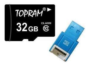 TOPRAM 32GB 32G microSD microSDHC micro SD Class 10 C10 Memory Card + R10b USB Reader