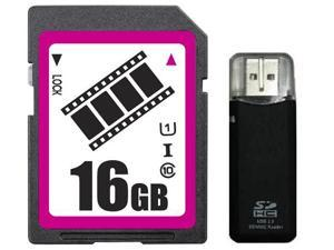 FilmPro 16GB SDHC SD Card Class 10 Ultra High Speed UHS-I for Camera & Camcorder with R3 Reader