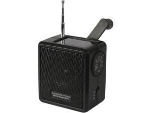 Black Solar Powered Wind Up Radio