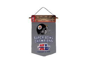 Pittsburgh Steelers Official NFL 18 inch  Super Bowl Champs Wool Banner Flag by Winning Streak