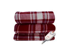 Sunbeam Microplush Electric Heated Throw Blanket Garnet/Slate Plaid Reversible