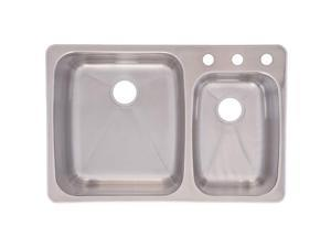 Franke USA C2233R/9 Dualmount Double Bowl Kitchen Sink, Stainless Steel