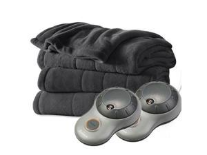 Sunbeam Heated Electric Blanket Channeled Microplush (Queen Size) - Slate Grey