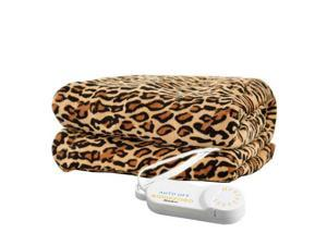 Biddeford 4441-907484-791 Comfort Knit Super Soft Heated Throw Blanket Cheetah