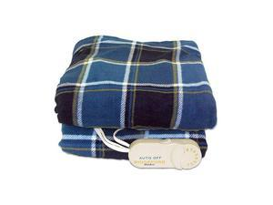 Biddeford 4442-907484-479 Comfort Knit Supr Soft Heated Throw Blanket Blue Plaid