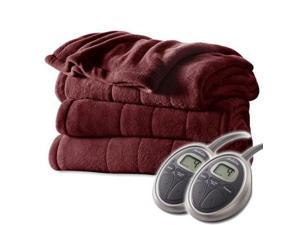 Sunbeam Channeled Velvet Plush Electric Heated Blanket Queen Garnet