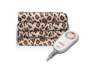 Sunbeam Microplush Electric Heated Throw Blanket African Leopard TSM8UPR905-25AW