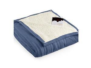Biddeford 2061-9052140-500 MicroPlush Sherpa Electric Heated Blanket Full Denim