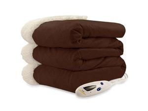 Biddeford 4480-9064114-711 Micro Mink and Sherpa Heated Throw Blanket Chocolate