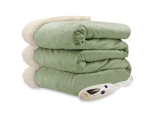 Biddeford 4480-9064114-633 Micro Mink and Sherpa Heated Throw Blanket Sage