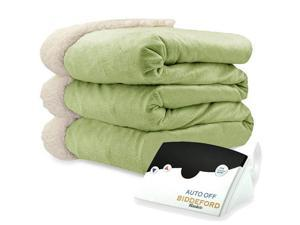 Biddeford 6001-9051136-635 Micro Mink and Sherpa Heated Blanket Full Sage