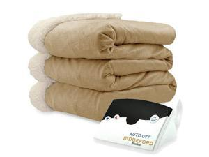 Biddeford 6001-9051136-713 Micro Mink and Sherpa Heated Blanket Full Linen