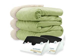 Biddeford 6003-9051136-635 Micro Mink and Sherpa Heated Blanket Queen Sage