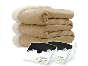 Biddeford 6003-9051136-713 Micro Mink and Sherpa Heated Blanket Queen Linen