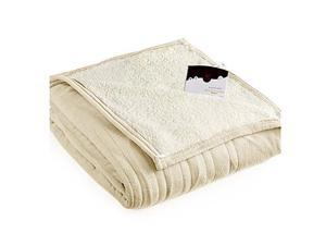 Biddeford 2060-9052140-702 MicroPlush Sherpa Electric Heated Blanket Twin Cream