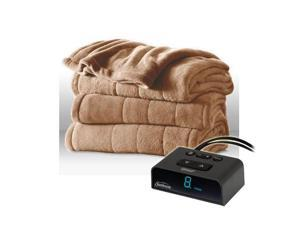 Sunbeam Heated Electric Blanket Channeled Microplush Full Size Mushroom Tan