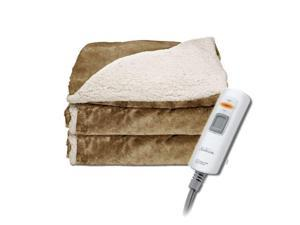 Sunbeam TRT8WR-R230-25A44 Sherpa RoyalMink Electric Heated Throw Blanket - Honey