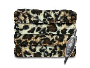 Sunbeam Faux Fur Ultra-Soft Oversized Heated Electric Throw Blanket - Cheetah