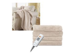 Sunbeam LoftTec Ultra-Soft Heated Electric Throw Blanket - Sand Tan