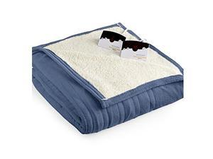 Biddeford 2063-9052140-500 MicroPlush Sherpa Electric Heated Blanket Queen Denim