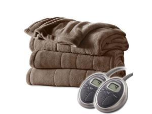 Sunbeam Channeled Velvet Plush Electric Heated Blanket Queen Cocoa