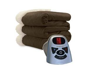 Biddeford 6000-9362160-711 Micro Mink and Sherpa Heated Blanket Twin Chocolate