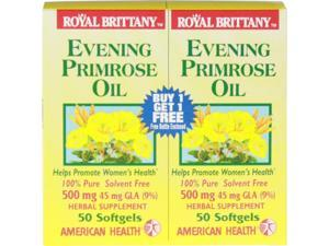 Evening Primrose Oil 500mg Royal Brittany Twin Pack - American Health Products - 50+50 - Softgel